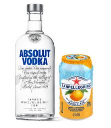 Vodka Absolut Azul+04 San Pellegrino Aranciata Orange Lata 330ml