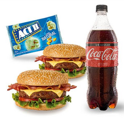 2 Hamburguesa Casera + Coca Cola 1 LT + Act II Pop