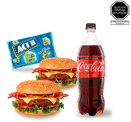 2 Hamburguesa Casera + Coca Cola 1 LT + Act II Pop
