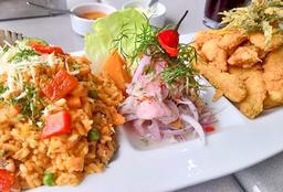 Ceviche + Arroz con Mariscos + Chicharrón de Pescado