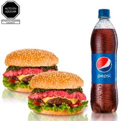 2 Hamburguesas Flamante + Pepsi 750 ML