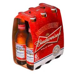 Six Cerveza Budweiser botella 343 ml.