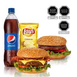 Hamburguesa Casera + Listo Clásica + Lays 85 + Pepsi 750 Ml