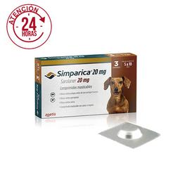 Antipulgas para Perros SIMPARICA 20 MG ( 5 - 10 KG ) x3