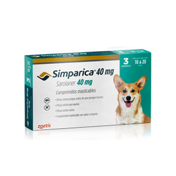 Antipulgas para Perros SIMPARICATableta  40 MG ( 10 - 20 KG )