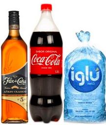 Flor de caña 5 años + Coca Cola 1.5 + Hielo