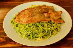 Tallarines al Pesto Con Filete