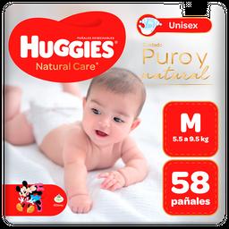 Pañal Huggies Natural Care Unisex Talla M 58 unid