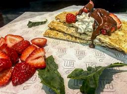 Waffles Strawberries and Cream