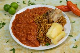 Carapulcra con Presa de Chancho y Sopa Seca + Chicha Morada