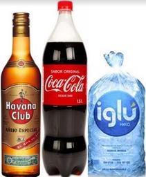 Havana Añejo Especial 700 ml+ Coca Cola 1.5 lt. + Hielo