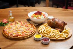 1 Pollo a la Brasa + Pizza Familiar