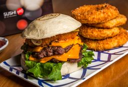 Cheese Burger + Onion Rings