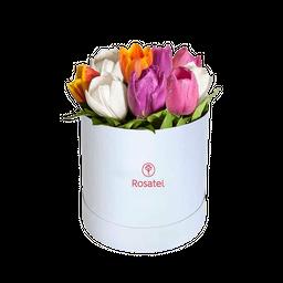 Caja Sombrerera Negra 12 Tulipanes