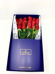 Caja azul - 12 rosas rojas
