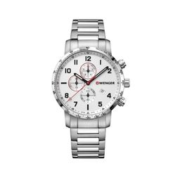 Reloj Attitude Chrono 044,Silver Dial, Bracelet