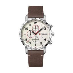 Reloj Attitude Chrono O44, Dial Blanco, Correa De Cuero