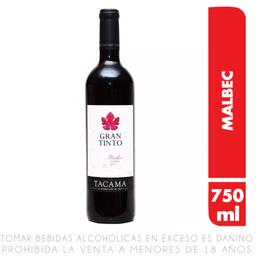 Vino Tinto Tacama Gran Tinto Malbec Crianza Botella 750 Ml