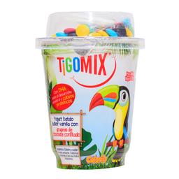Yogurt Mix Tigo Vainilla Con Grageas De Chocolate Confitado Vaso