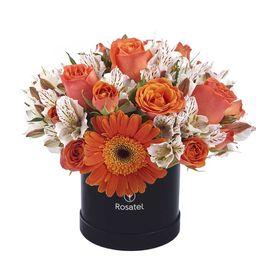 Caja Sombrerera Negra Pequeña Con Rosas y Flores