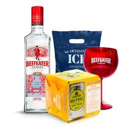 Gin Beefeater+copa+04Latas de Agua Tonica Britvic+Hielo Artisan