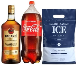 Ron Bacardi Oro 1.75 Lt + Coca Cola 3 Lt + Hielo Artisan 3 Kg
