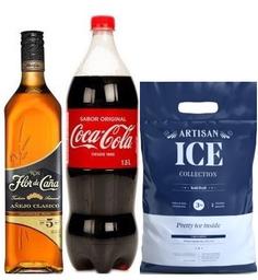 Ron Flor De Caña 5 Años + Coca Cola 1.5 Lt. + Hielo Artisan 3 Kg