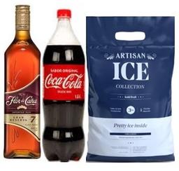 Ron Flor de Caña 7 Años + Coca Cola 1.5L+Hielo Artisan3Kg