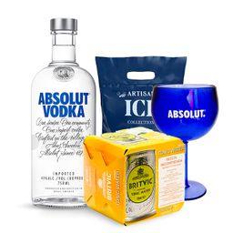 Vodka Absolut Azul+Copa+04Agua Tonica Britvic Lata+Hielo Artisan
