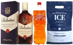 Whisky Ballantines Finest 750Ml+Guarana 2 Lt + Hielo Artisan 3Kg