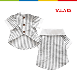 Boga Camisa Rayas Blanca Macho Talla 02 (Cm0268A-02 )