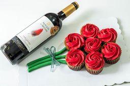 Ramo de Cupcakes y Vino