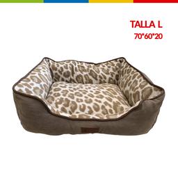 Cama Rectangular Marron Est Leopardo L (Qs149001L)