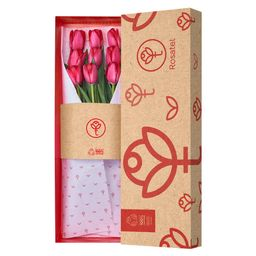 Caja Roja De Tulipanes X 9 Unid.