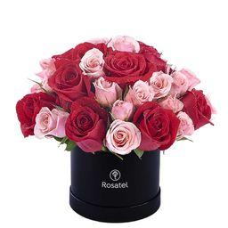 Caja Sombrerera Negra Pequeña Con 10 Rosas y Mini Rosas