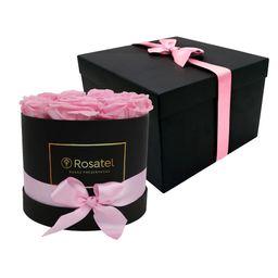 Sombrerera Negra Con 12 Rosas Rosas Preservadas