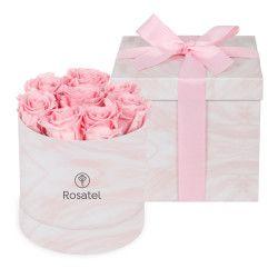 Sombrereramarmoleada rosado con 8botones de rosas preserv