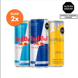Red Bull Regular, Sugar Free o Tropical 250ML 2X S/.9.90