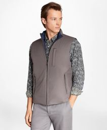 Chaleco Reversible Diamond Quilted Charcoal Grey