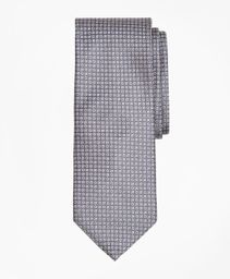 Corbata Seda Micro Check Grey