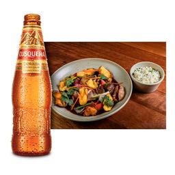 Lomo Saltado y 1 Cerveza Cusqueña (330ml)