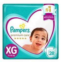 Pañales para Bebé Pampers Premium Care Talla XG Paquete 28 unid