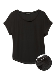 Banana Republic Blusa Picot Trims Negro