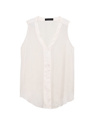 Banana Republic Blusa High Low Pieced Vees Blanco