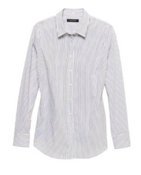 Banana Republic Blusa Riley Tailored-Fit Stripe Blanco