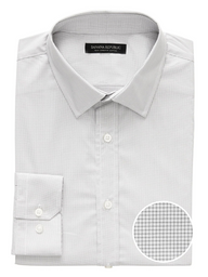 Banana Republic Camisa Tech Clean Micro Grid Gris Claro