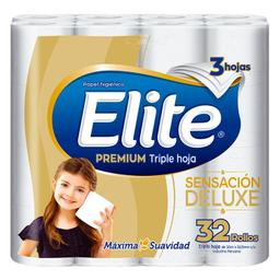 Papel Higiénico Elite Premium Triple Hoja Sensación Delux 32 U