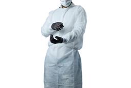Mandil Note Mask Gown Aséptico Descartable Color Blanco