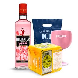 Pack Gin Beefeater Pink+Copa+4Latas Tonica Britvic+Hielo Artisan
