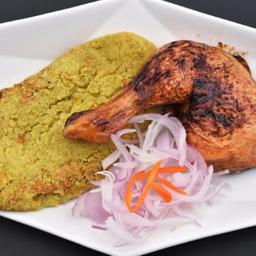 Pollo al cilindro con tacu tacu de arverjas